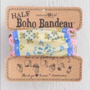 Natural Life Half Boho Headband Bandeau Pink/Blue